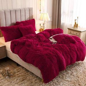 King 1PC Faux Fur Plush Duvet Cover  Shaggy Velvet